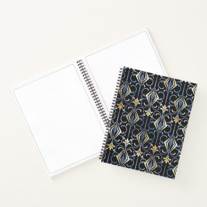 Black Silver and Gold Art Deco Pattern Notebook - pattern sample