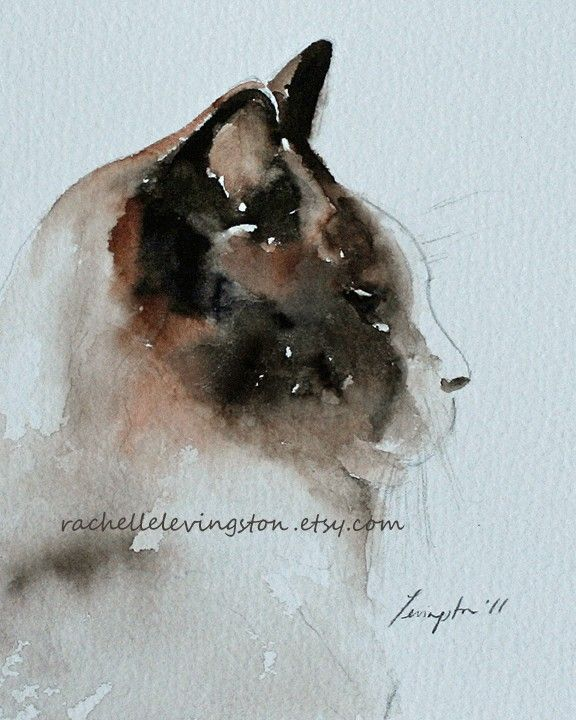 Brown Cat prt print original watercolor cat painting (Siamese Kitten Print) by Rachelle Levingston via Etsy.