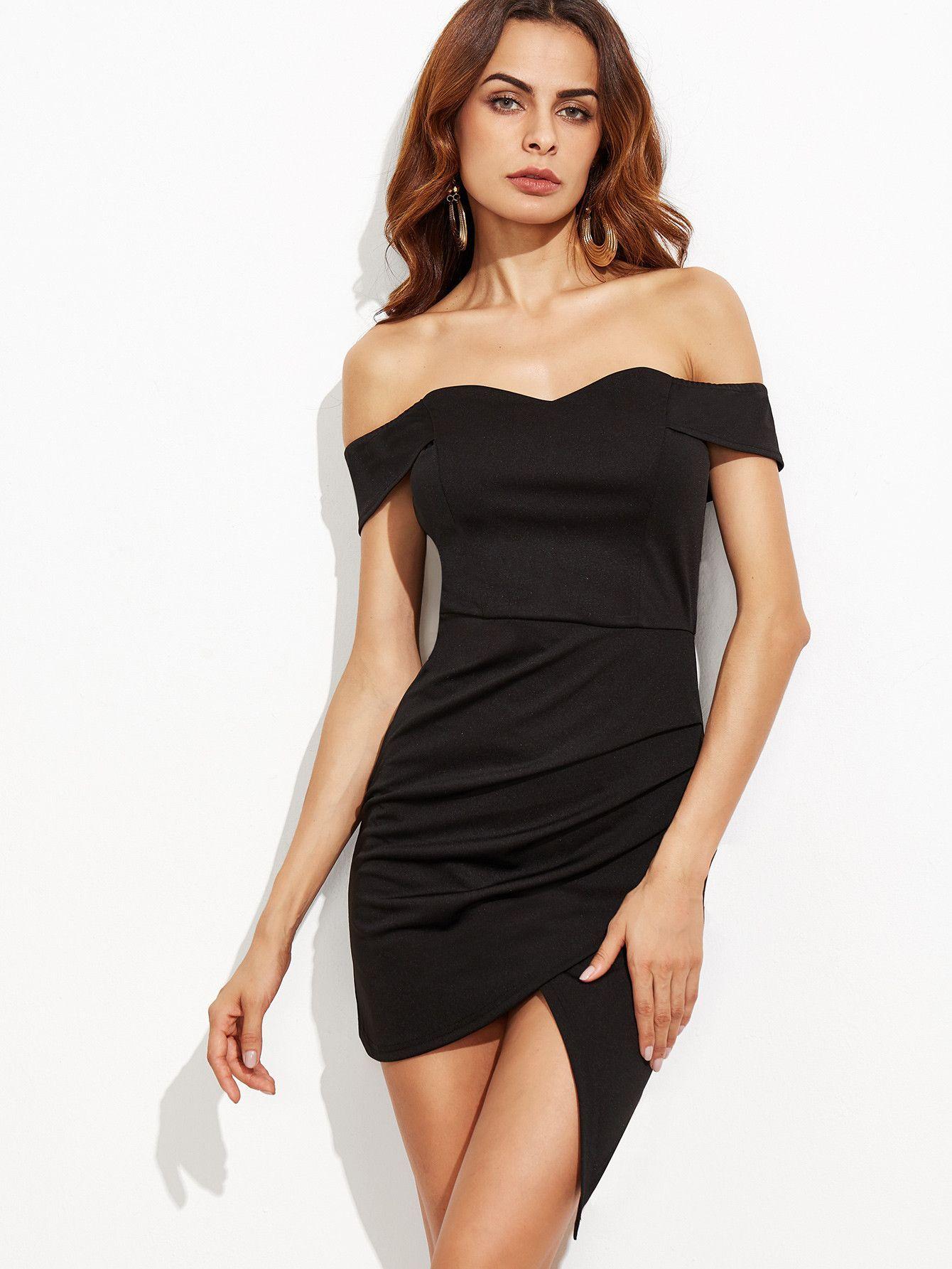 a66ae3485c4d39 Description Fabric: Fabric is very stretchy Season: Summer Pattern Type:  Plain Sleeve Length: Short Sleeve Color: Black Dresses Length: Mini Style:  Party ...