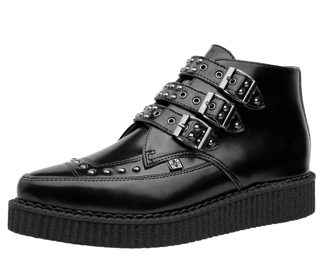TUK Pointed Toe Creeper - Zapatillas unisex, Black/Monk Buckle, 37
