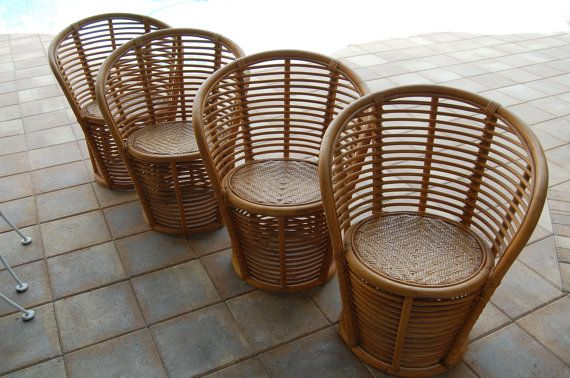 7/18 Vintage Bamboo Rattan Chairs On Sale Palm - Reserved For Charity... 7/18 Vintage Bamboo Rattan Chairs On Sale