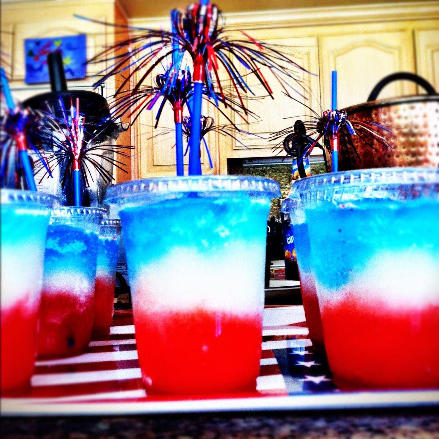 Patriotic Blended Cocktail. Kiddie And Adult Version