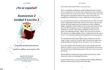 avancemos 2 lecci n preliminar unidad 4 lecci n 2 lessons notes rh pinterest com Avancemos Textbook Level 1 Spanish Textbook Avancemos 1