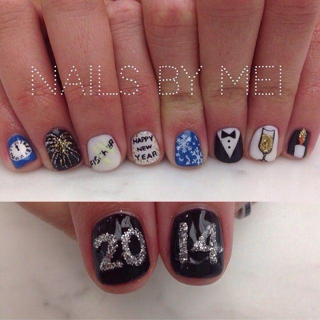 new years nails by mei | Decoracion uñas | Pinterest | Fin de año ...
