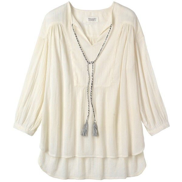 Toast Cheesecloth Kaftan, Off White (145 BRL) ❤ liked on Polyvore featuring tops, tunics, holiday tops, off white shirt, tassel shirt, shirt tunic and cotton caftan