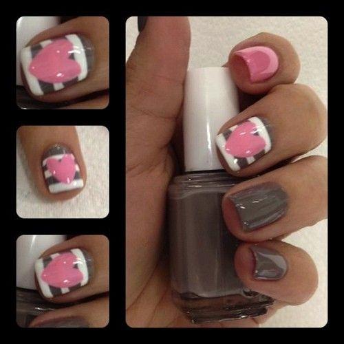 Pink, White, And Grey Nail Art