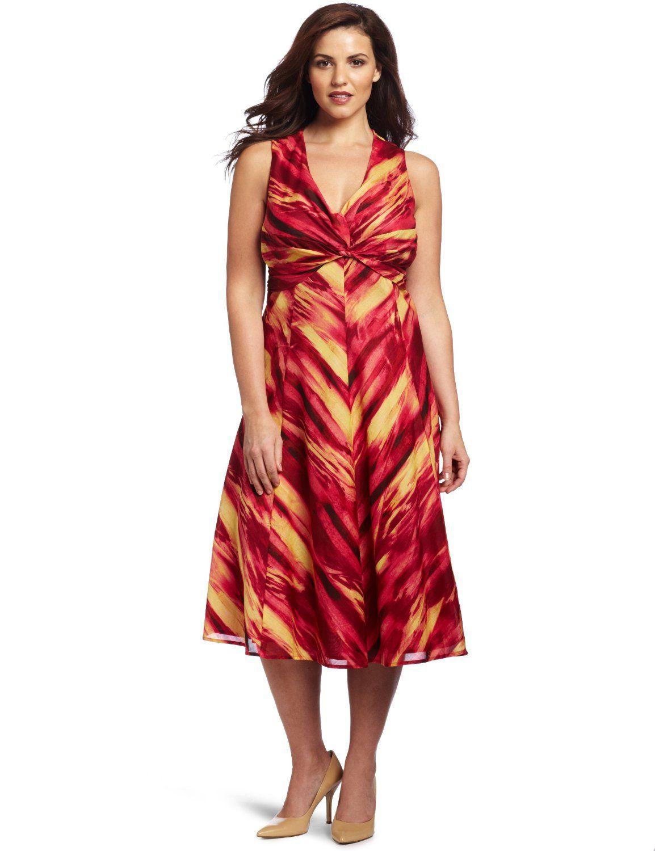 Jones New York Women\'s Plus-Size Twist Front Dress: Amazon ...