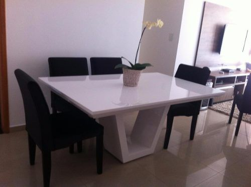 Mesa De Jantar Branca 8 Lugares Brina Medida 2 00 X 1 00 R