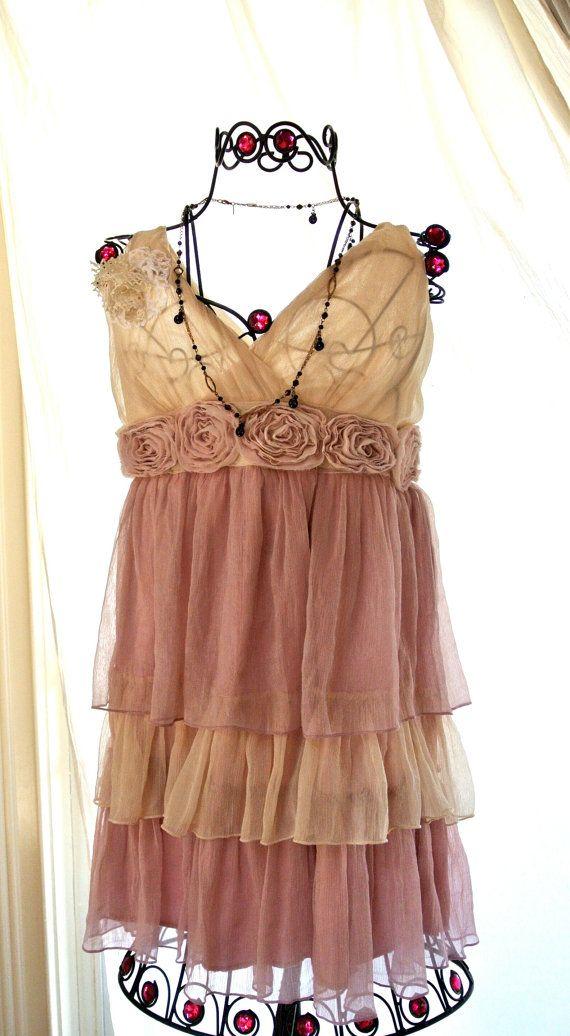 Romantic Shabby chic Pink Ruffle dress by