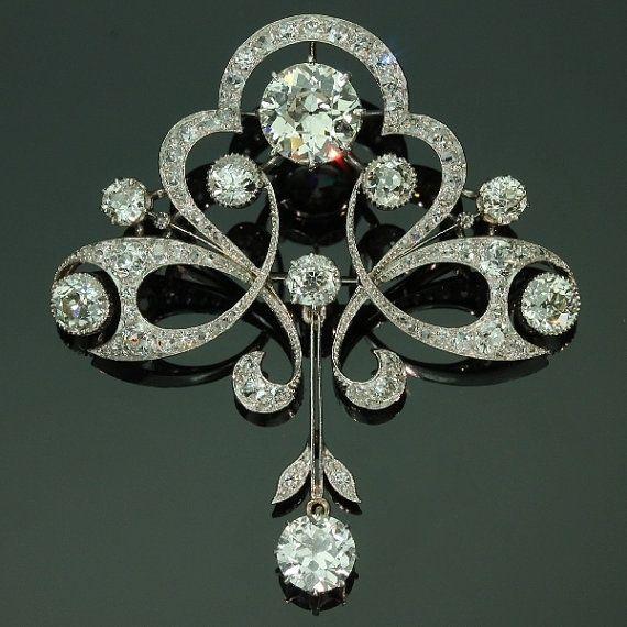 Antique diamond floral brooch
