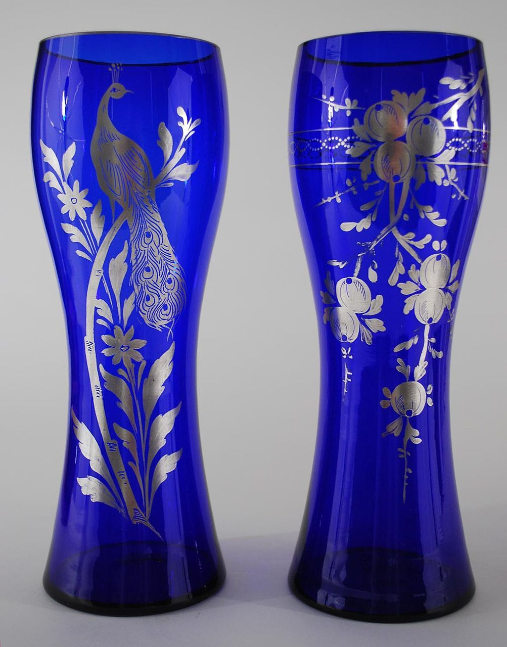 A pair of cobalt blue vases with silver overlay czechoslovakia a pair of cobalt blue vases with silver overlay czechoslovakia vintage reviewsmspy
