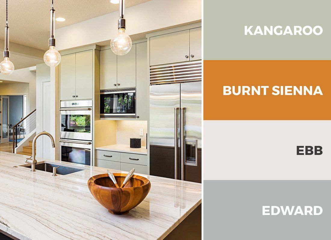 captivating beige gloss kitchen | A green, silver and beige kitchen goes great with modern ...