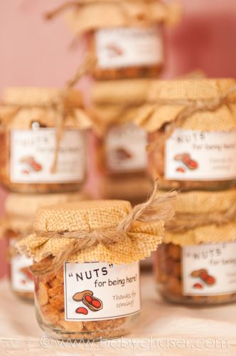"""""""They're nuts about each other!  It's so sweet!!!""""  Make sugar glazed pecans and put into little jars as the favor."""
