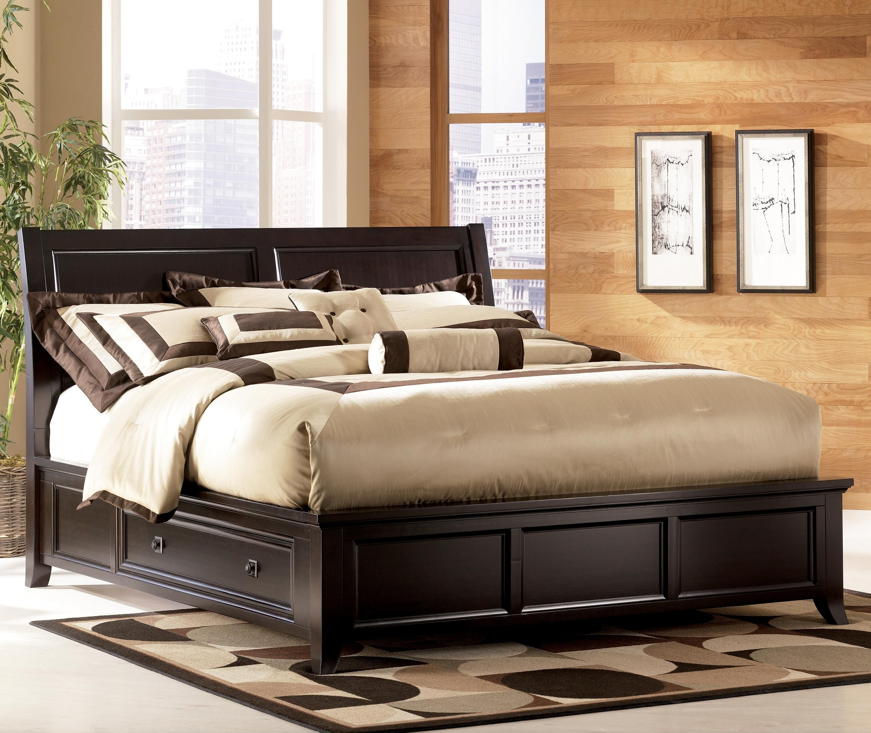 King Bett Martini Suite Cal King Panel Platform Bed With Side Drawer Storage