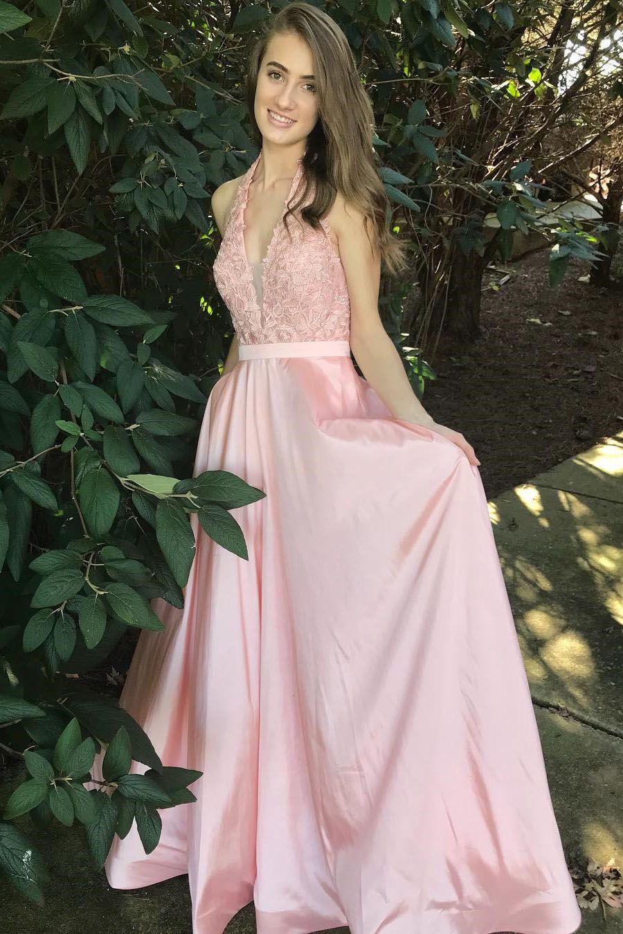 Elegant halter v neck pink long prom dress dreamdressy pinterest
