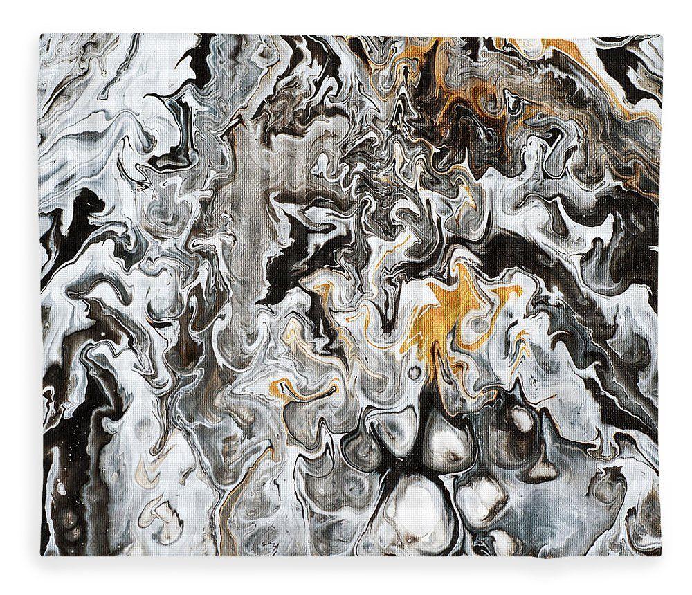 Golden beings abstract fluid acrylic painting fleece blanket