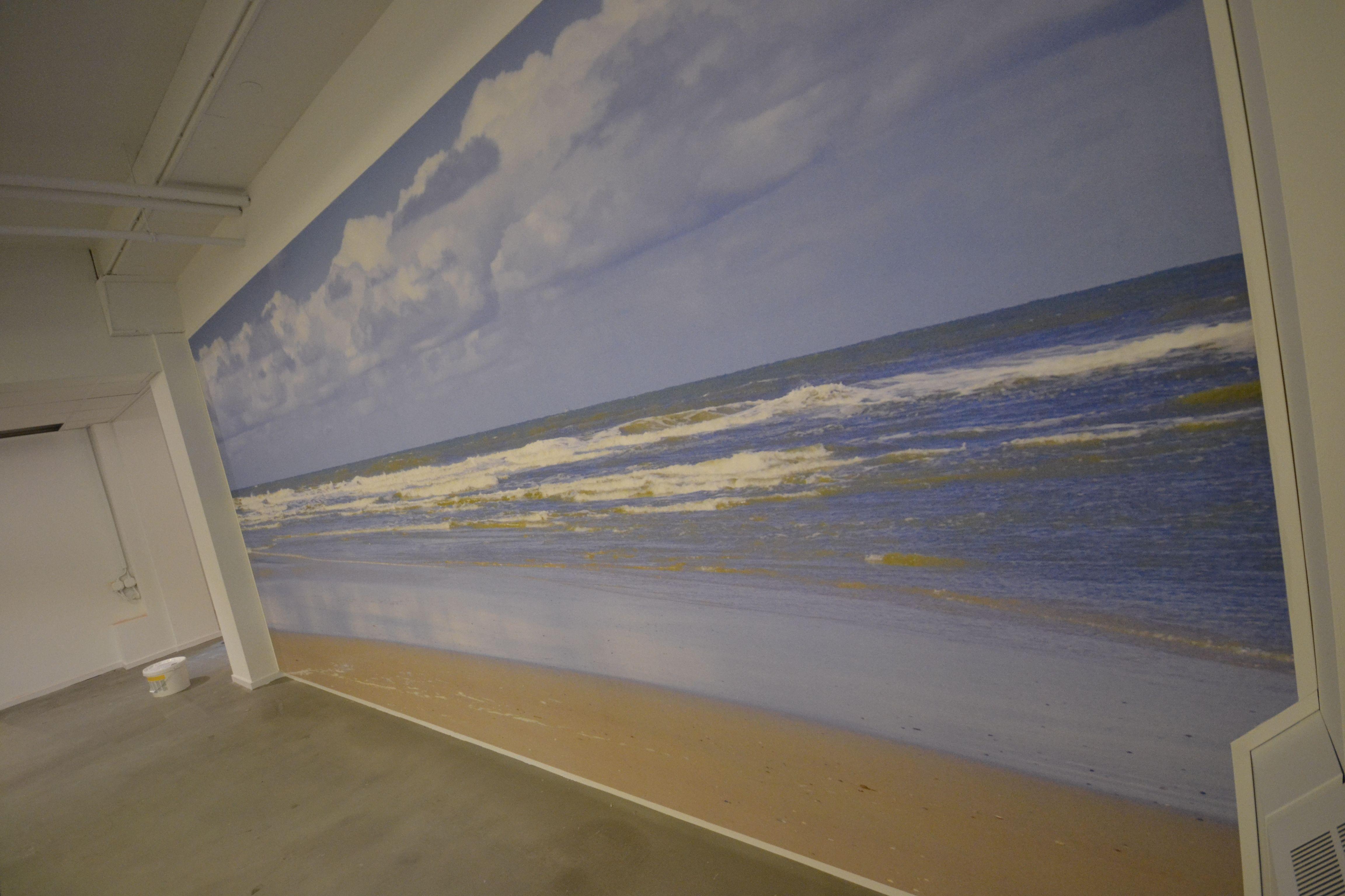 Natuur rustgevend water strand behang interieur kantoor