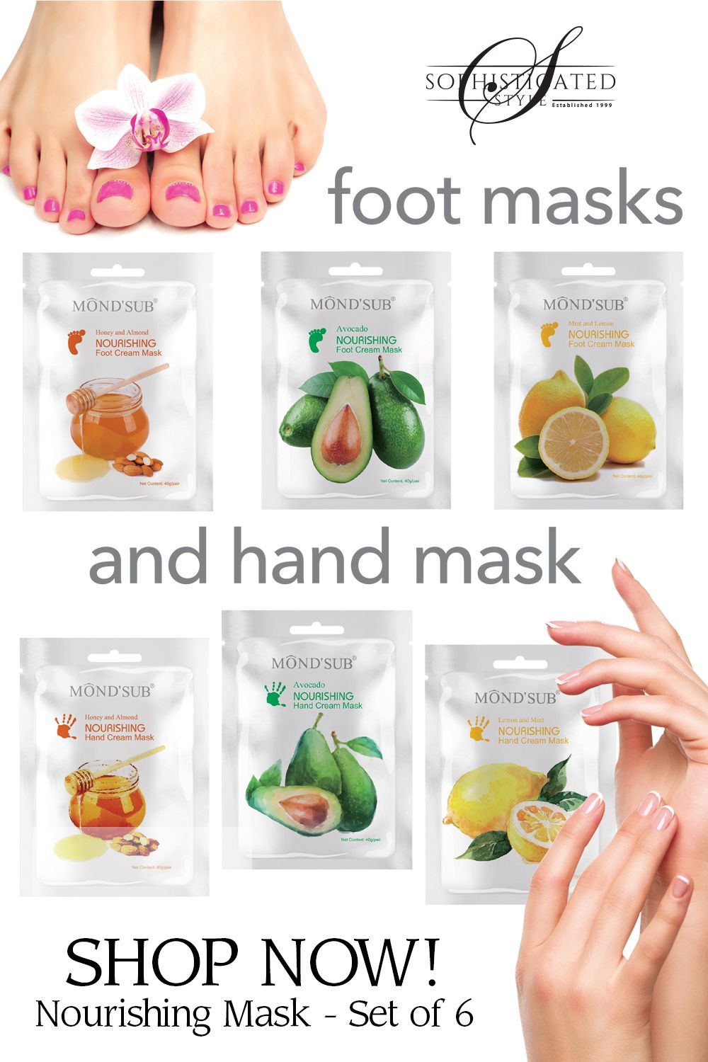 NOURISHING HAND & FOOT CREAM MASK - SET OF 6