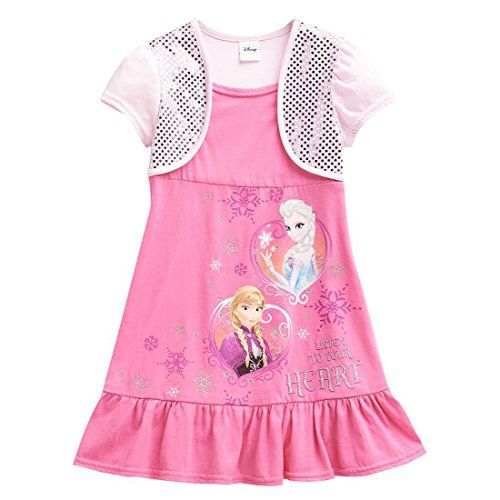 Disney Frozen MockLayer Anna  Elsa Pink Dress 6 *** You can get more details by clicking on the image.