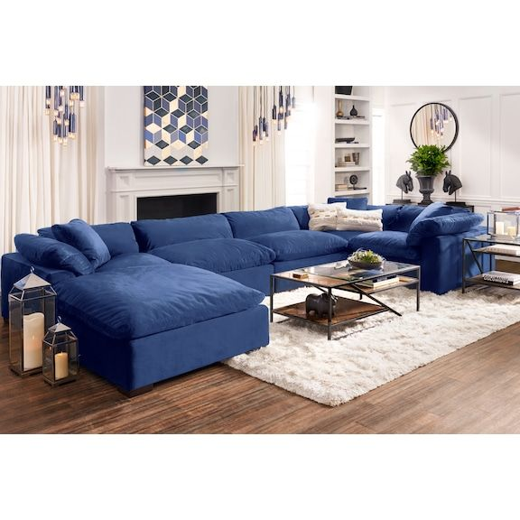 Plush 5 Piece Sectional With Ottoman White Furniture Living Room Blue Living Room City Furniture