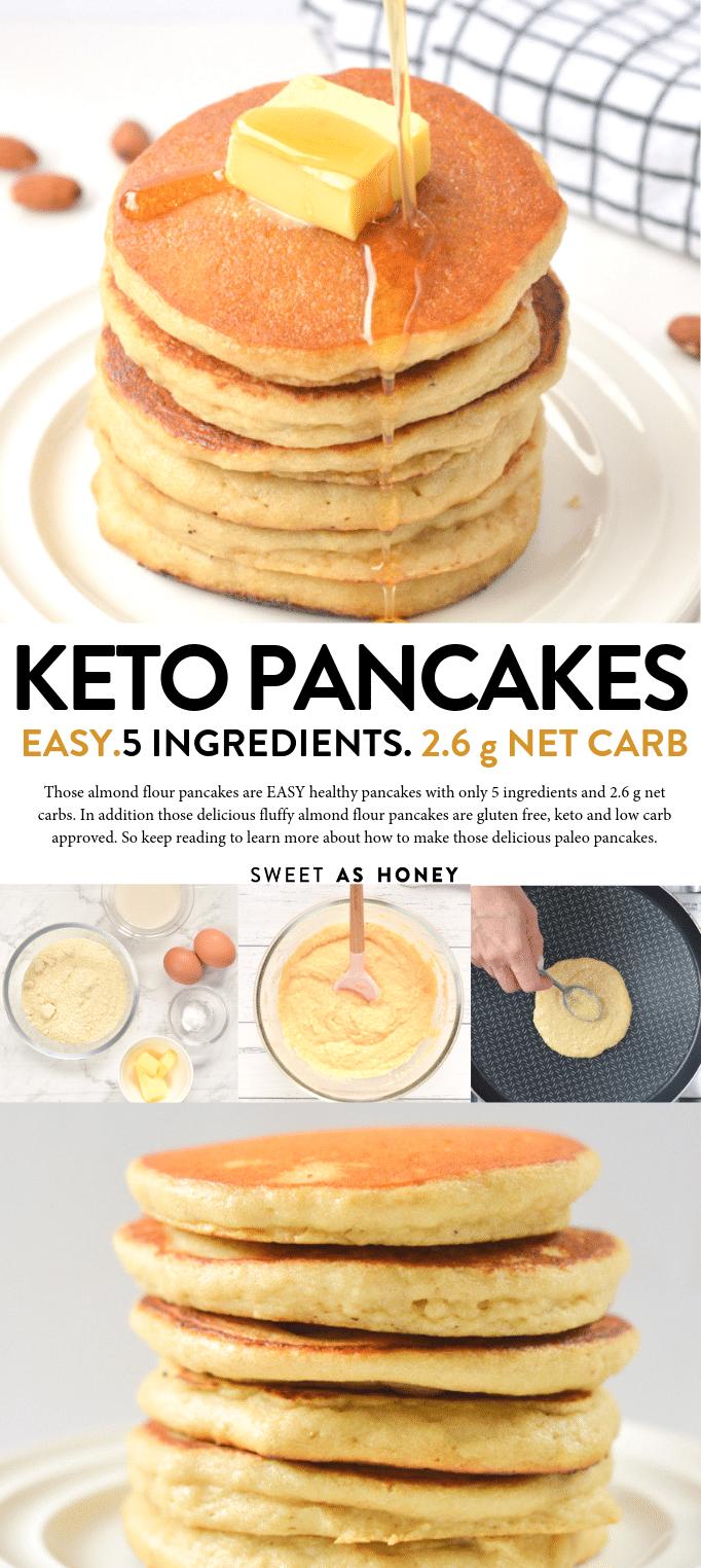 Keto Almond flour pancakes only 5 ingredients - Sweetashoney