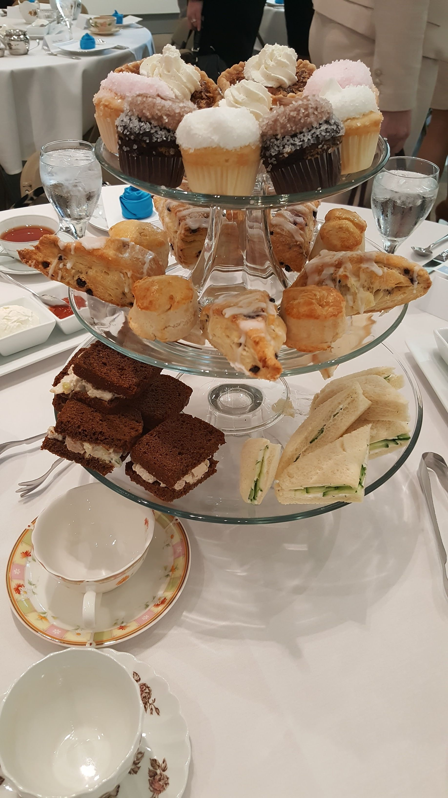 Assorted cake stands are perfect for a tea party