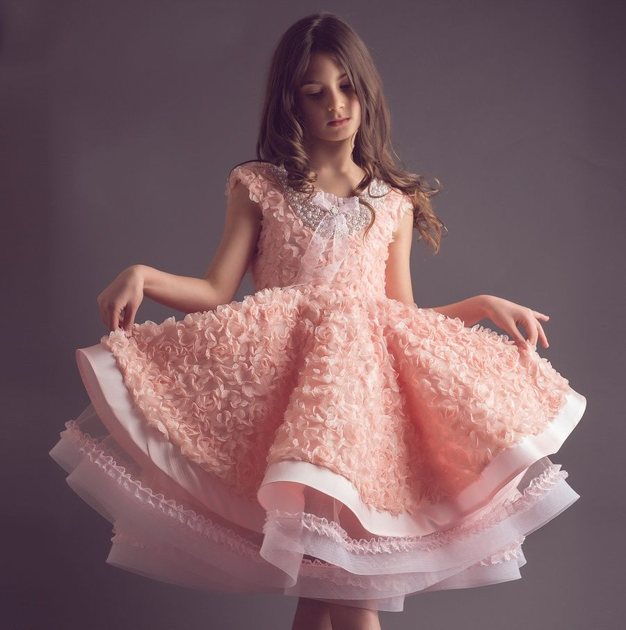 FabTutus   Products   Anna Triant Couture   Peach Rosette Dress