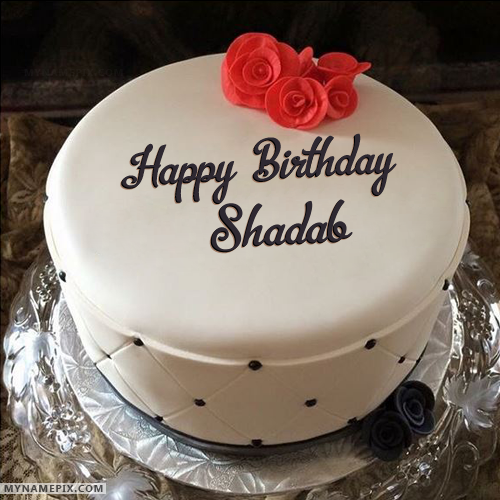 The Name Shadab Is Generated On Simple Elegant Birthday Cake With