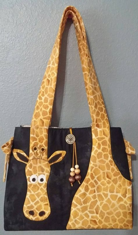 Giraffe Tote PATTERN Instructions. Great purse or tote for a child or an adult. You can make a 12″x12″x4″ purse or 12″x14″x4″ tote