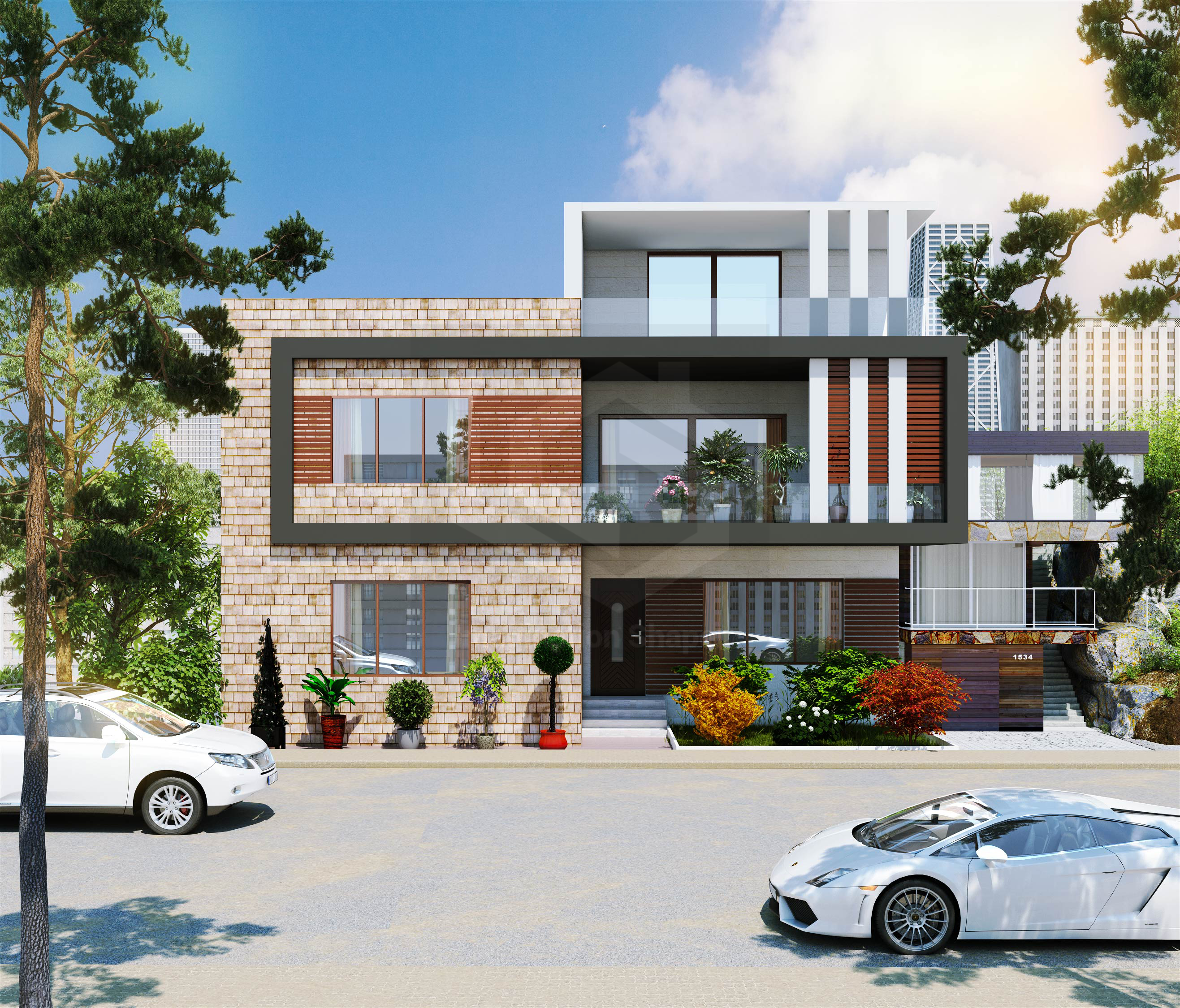 Home Design Ideas Front: Duplex Residential Front Elevation