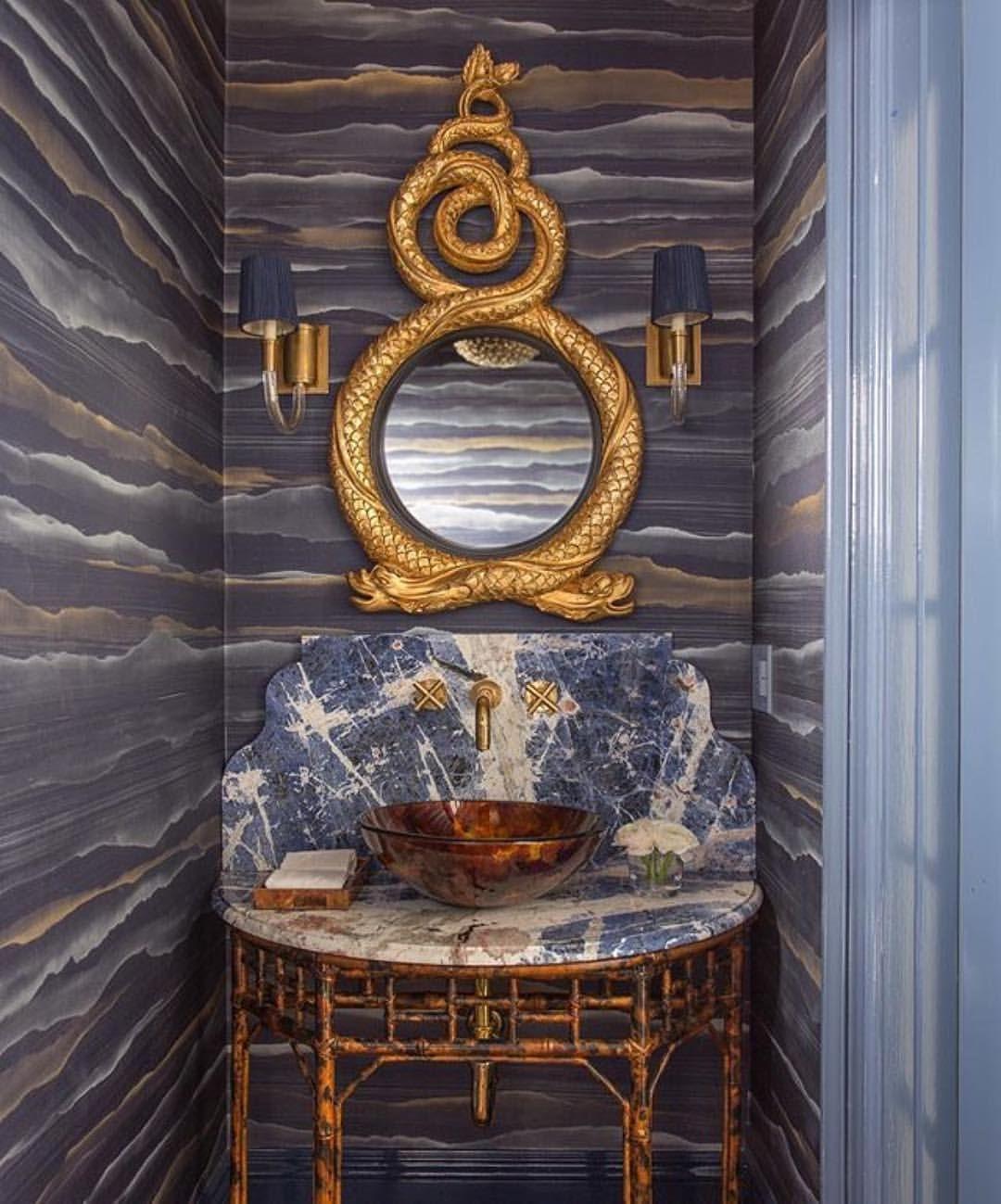 Kristin Paton Powder Room Fromental Wallpaper Serpent Mirror