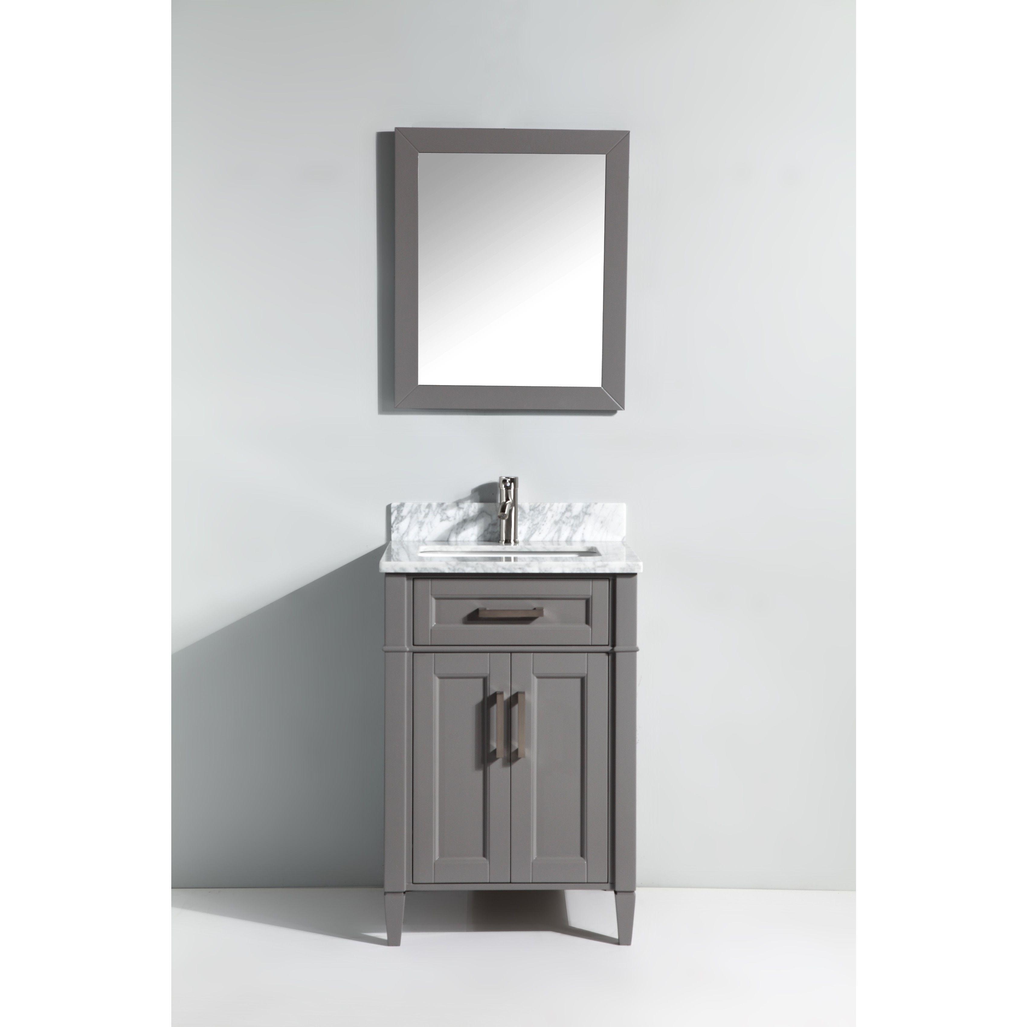 Vanity Art Wood 24 Inch Single Sink Bathroom Vanity Set With Marble Top White Size Single