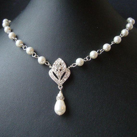 Brautschmuck perlen ivory  Art-Deco Stil Braut Halskette, Swarovski Halskette Hochzeit ...
