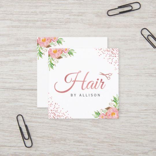 Carte De Visite Carré L'or rose pointille le coiffeur
