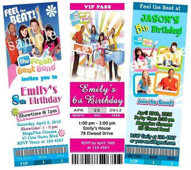 Party Ticket Invitations Custom The Fresh Beat Band Birthday Party Ticket Invitations$10.99 .