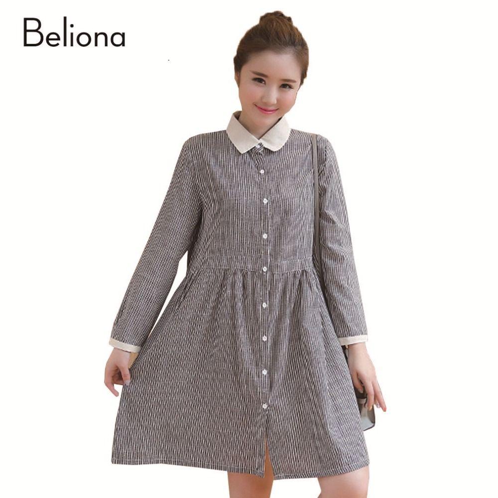 Turndown collar stripes pregnancy shirt dresses for spring long