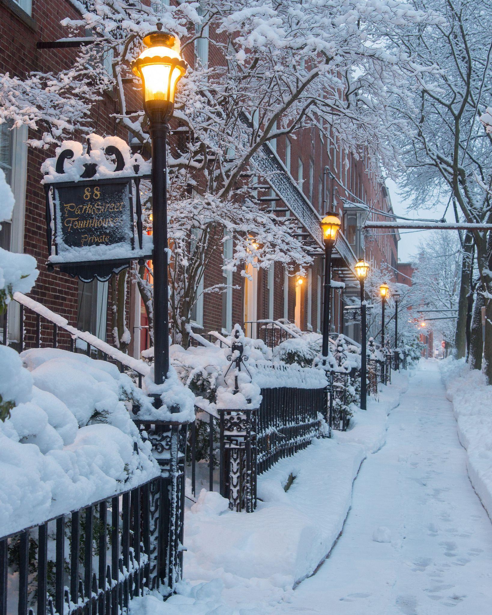 Winter Morning After Snow Storm on Park Street, Vertical #photosofnature Explore...