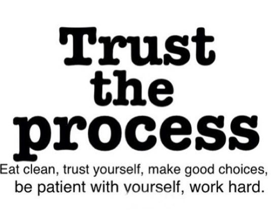 Trust the Process ~ Eat clean, trust yourself, make good choices, be patient with yourself, work hard.