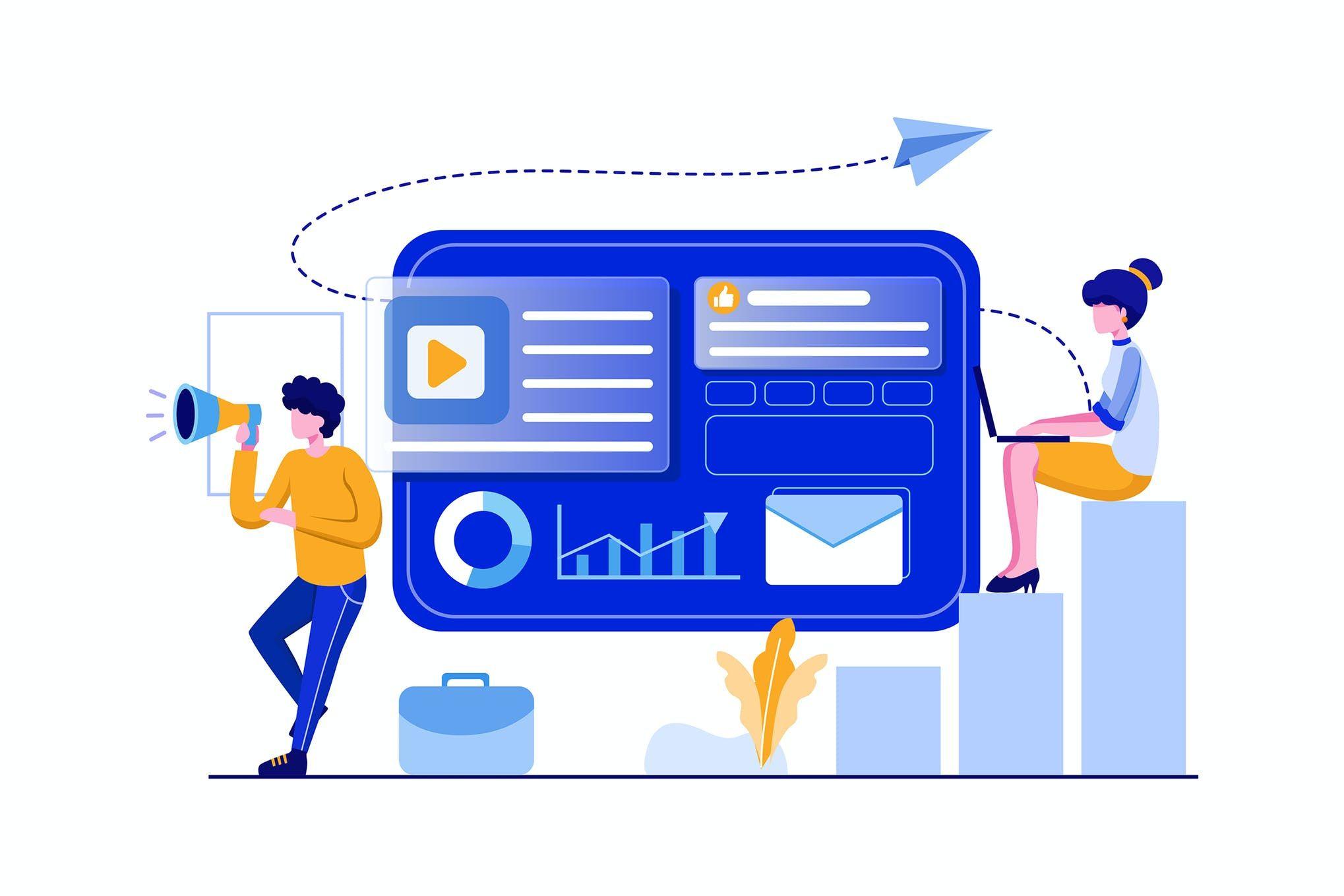 online digital marketing team vector illustration in 2020 online digital marketing digital marketing vector illustration online digital marketing team vector