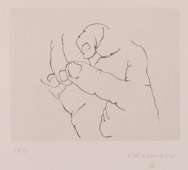 """Eduardo #Chillida """"Esku IX"""", 1973. Aguafuerte sobre Cobre de 14x18 cm., Papel…"""