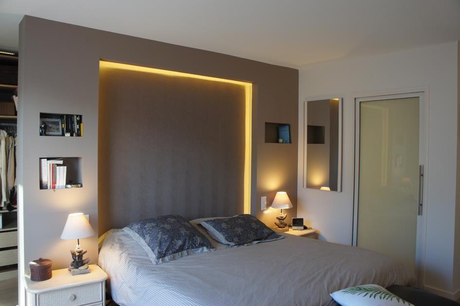 image chambre avec t te de lit comme s paration souffle d 39 int rieur appartement pinterest. Black Bedroom Furniture Sets. Home Design Ideas