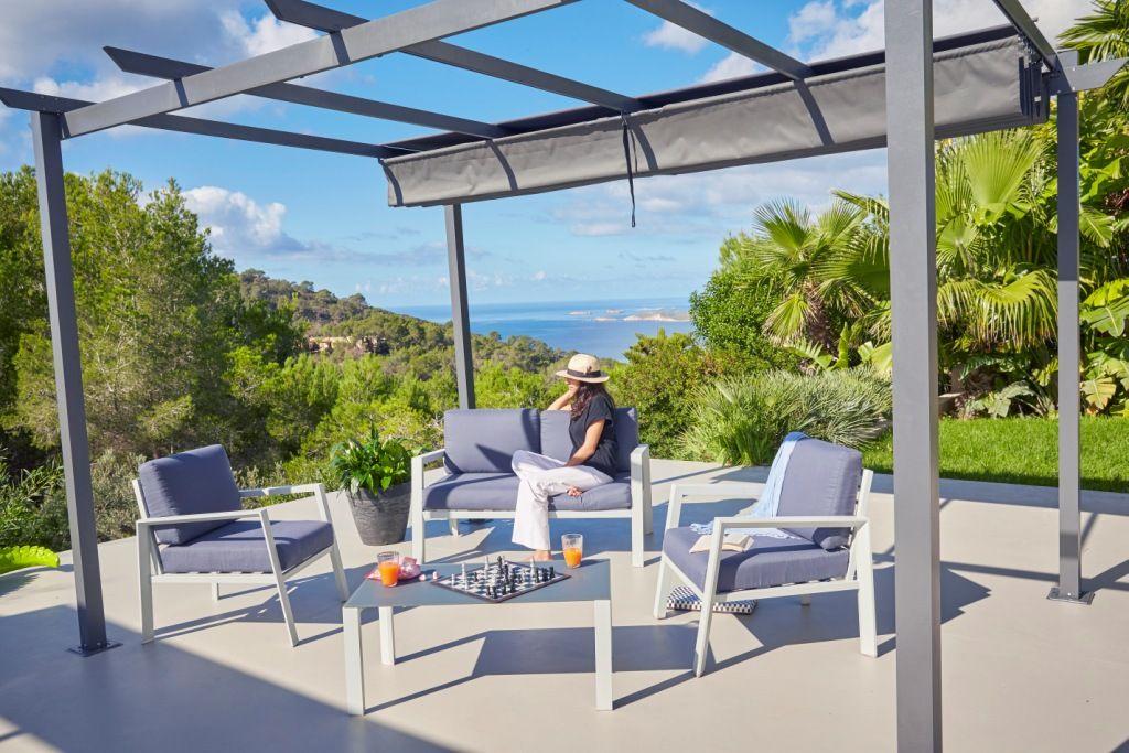 Salon de jardin 4 pièces en aluminium 1 canapé, 2 fauteuils, 1 table ...