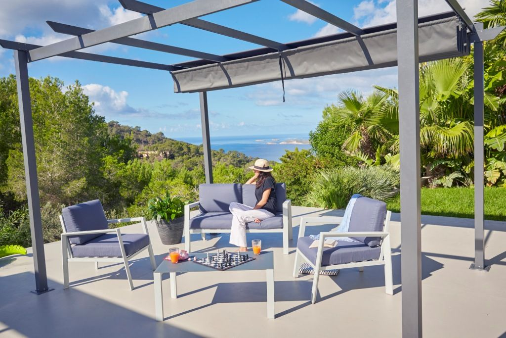 Salon de jardin 4 pièces en aluminium 1 canapé, 2 fauteuils, 1 ...