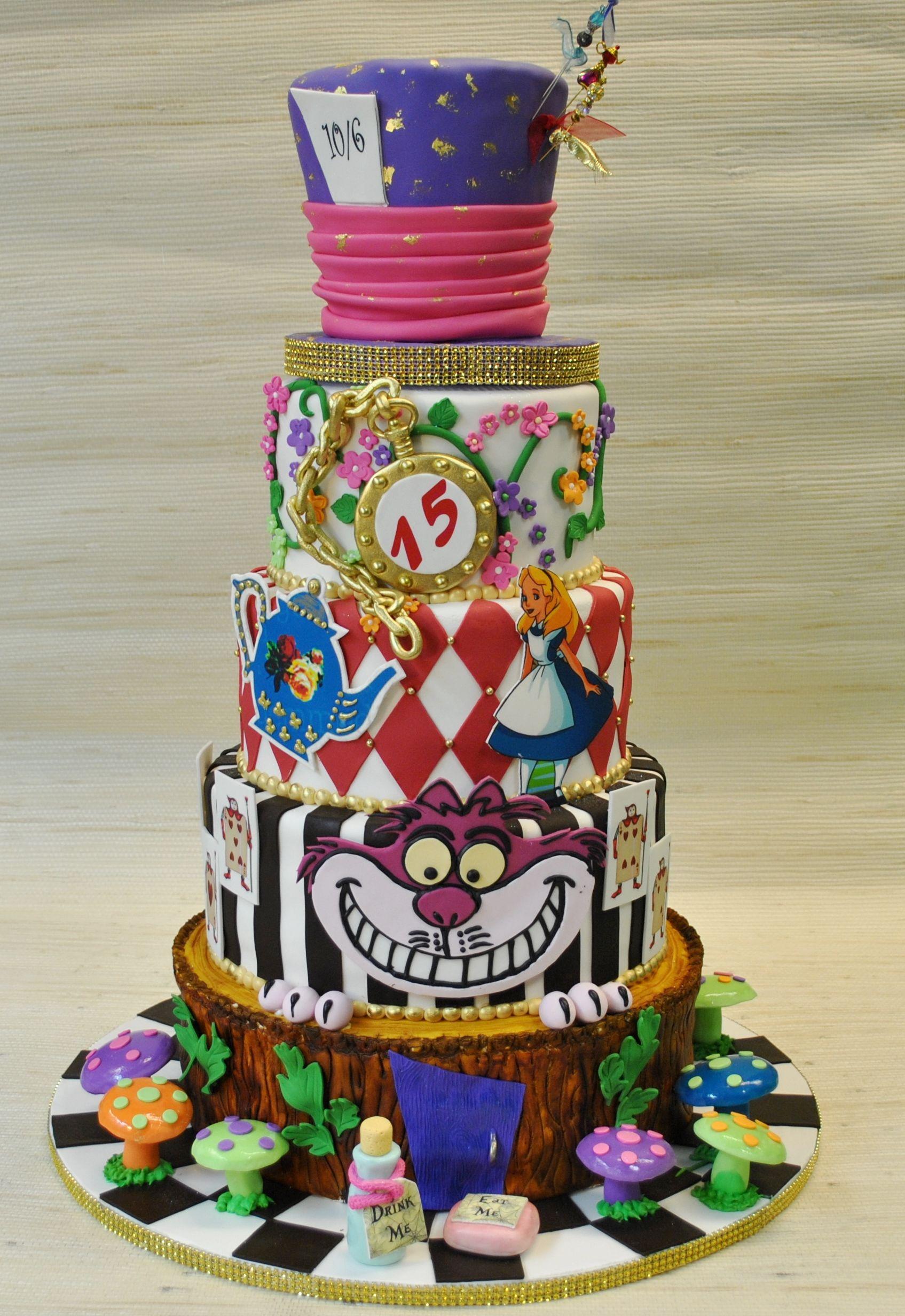 Quinceanera custom cake Alice in Wonderland Quinceanera cake The