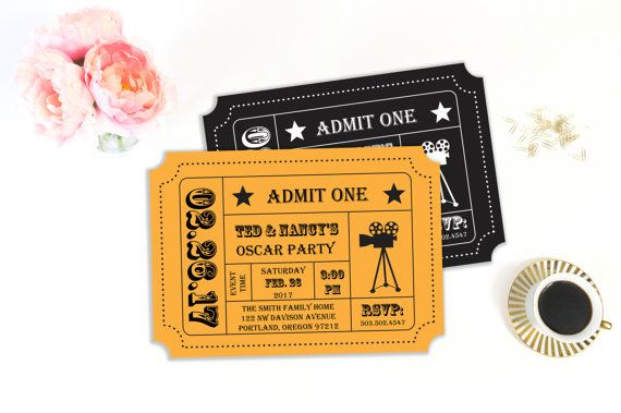 oscar party invitation template printable editable diy print at