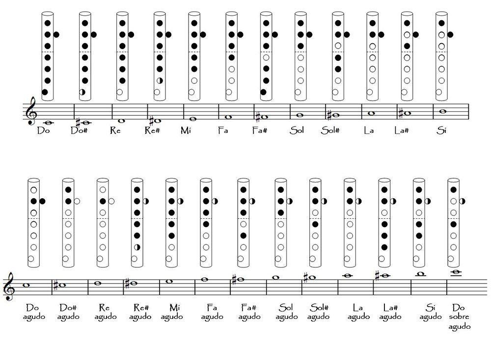 Las Notas Musicales De La Flauta Notas Musicales Flauta Dulce Notas Notas Musicales En Flauta