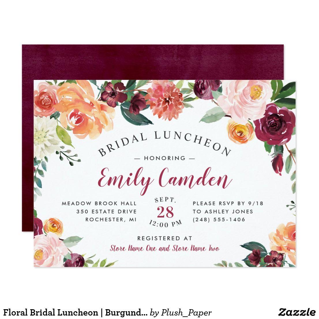 Rustic Burgundy Floral Wedding Bridal Luncheon Invitation