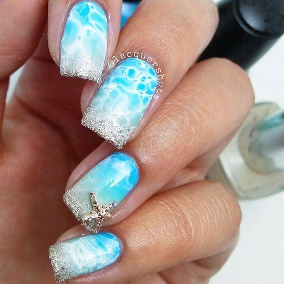 Beach Inspired Nails With Starfish. - Beach Inspired Nails With Starfish. Unghii Interesante Pinterest