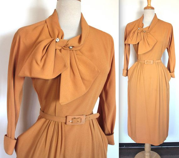 Vintage 1940's Dress // 40s Golden Yellow Crepe Evening Dress with Bow Collar and Rhinestones // Pointed Pockets // Belted Dress