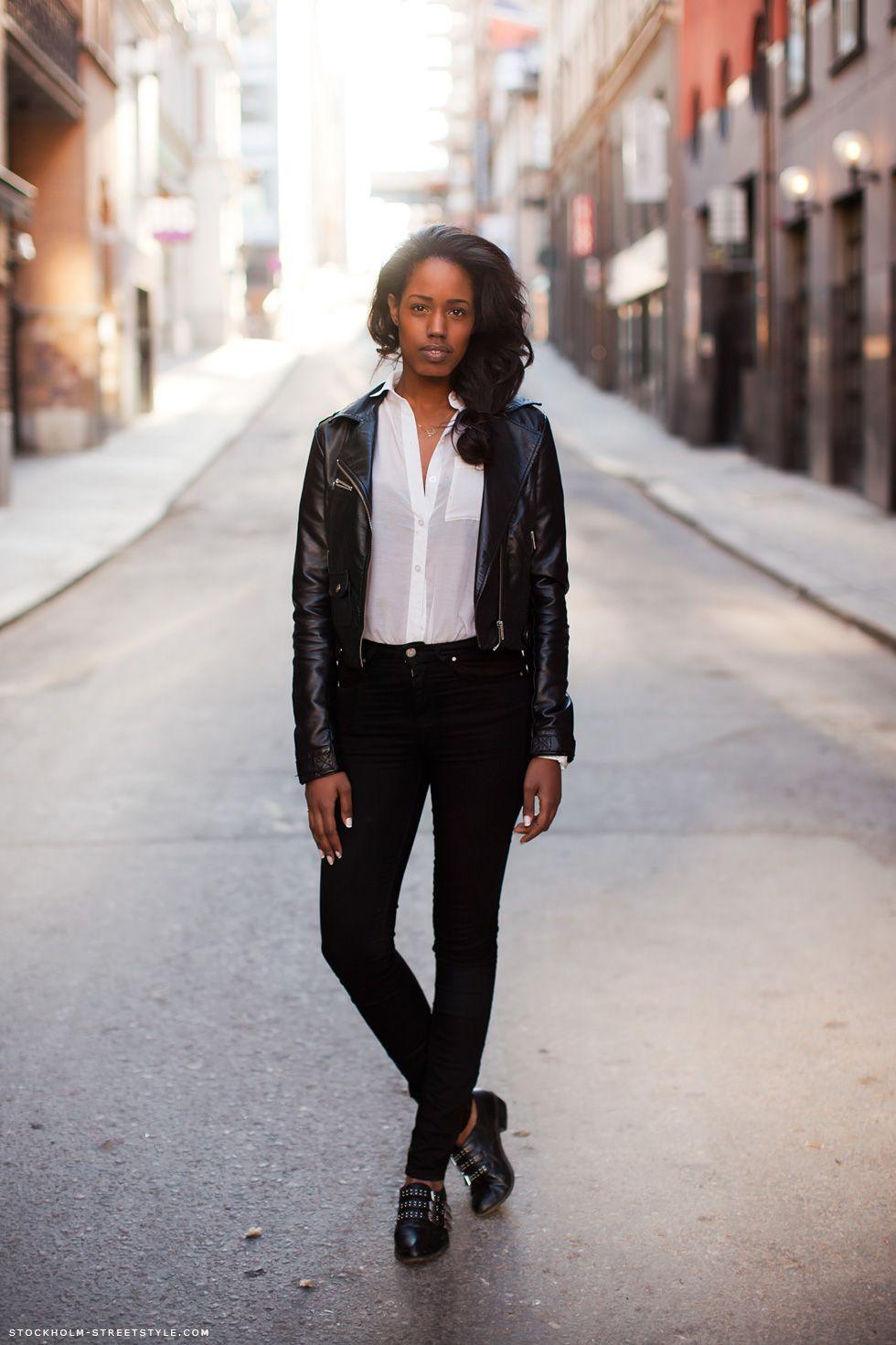 black leather jacket, white shirt, black shoes, jeans ...